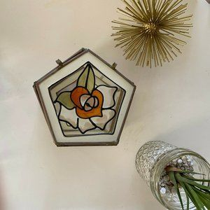 stained glass vintage style mirror jewelry box gla